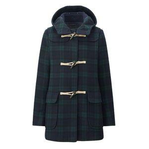 Uniqlo Plaid Wool Blend Duffle Coat